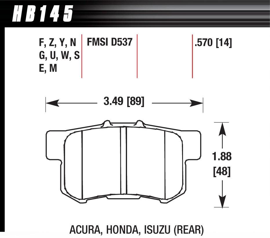 Honda Civic 01-05// Civic 1.8 VTi Prelude S2000 Rear Hawk HPS Brake Pads HB145F